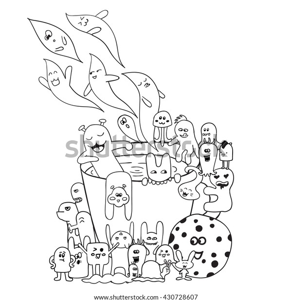 Coloring Pages Adults Coloring Book Black Stock Vector