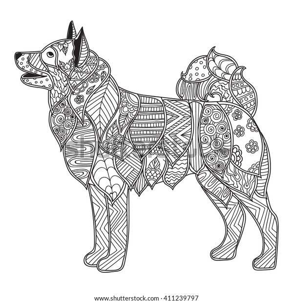 Coloring Pages Adults Coloring Book High Stock Vector