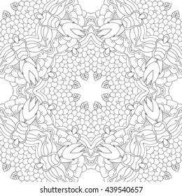 Coloring pages for adults. Coloring book.Decorative hand drawn doodle nature ornamental mandala vector sketchy zentangle seamless pattern.Islam, Arabic, Indian, turkish,pakistan,chinese,ottoman motifs