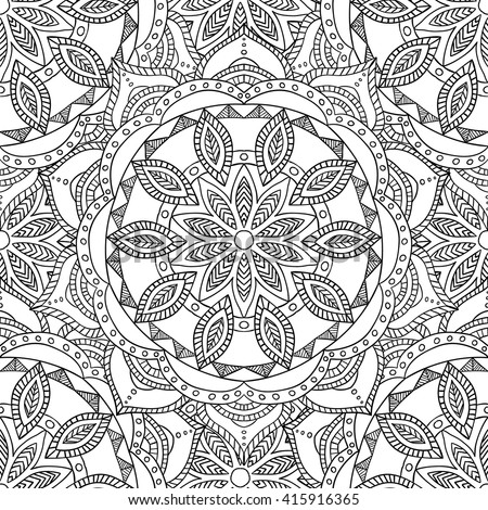 Coloring Pages Adults Coloring Book Decorative Hand Stock Vector ...