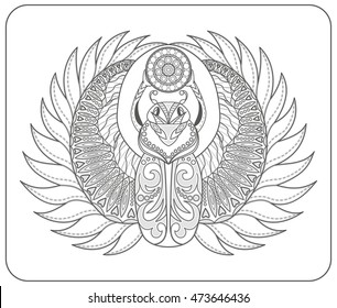 Coloring pages for adults and children. Black and white hand drawn zentangle a stylized scarab. Doodle vector. African, Egyptian totem. Sketch for relaxation, a poster, print or t-shirt