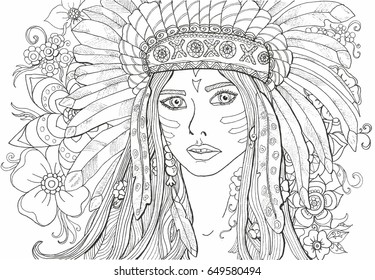 Coloring pages for adults girl Indian with decoration of feathers.