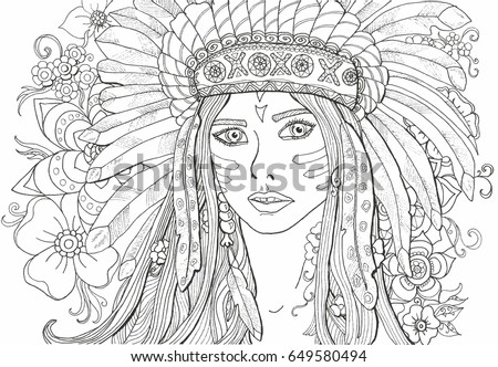 Coloring Pages Adults Girl Indian Decoration Stock Vektorgrafik