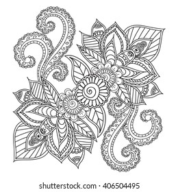 Coloring Pages Adults Seamless Patternhenna Mehndi Stock Photo