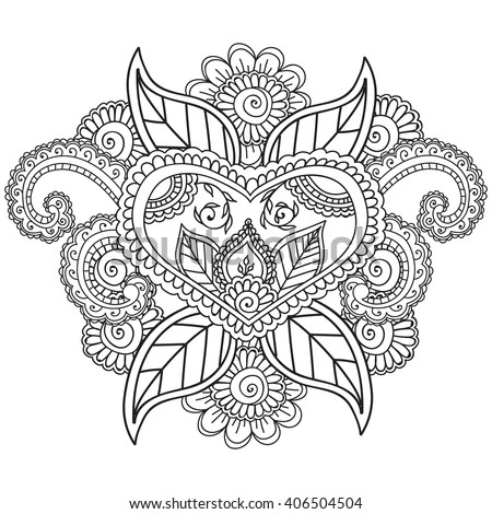 Coloring Pages Adults Henna Mehndi Doodleszentahgle Stock Vector ...