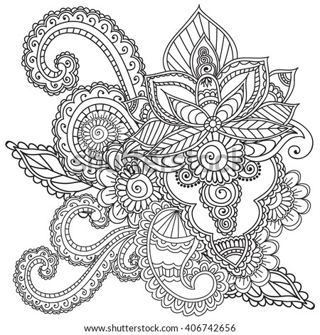 Coloring Pages Adults Henna Mehndi Doodles Stock Vector Royalty