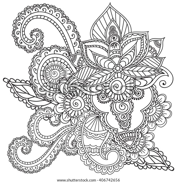 Coloring Pages Adults Henna Mehndi Doodles Stock ...