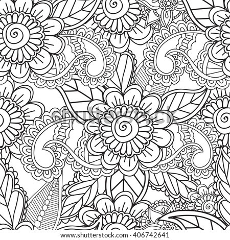 Coloring Pages Adults Seamless Pattern Henna Mehndi Stock ...