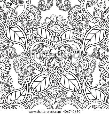 Coloring Pages Adults Seamless Pattern Henna Mehndi Stock
