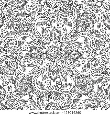 coloring pages for adults patterns Coloring Pages Adults Seamless Pattern Henna Mehndi Stock Vector  coloring pages for adults patterns