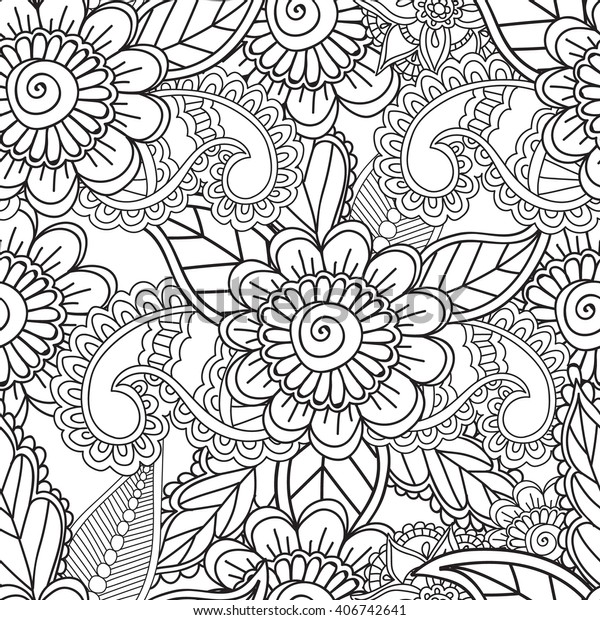 Coloring pages for adults. Seamless pattern.Henna Mehndi Doodles,zentangle abstract Floral Paisley Design Elements, Mandala,Vector Illustration,Arabic, Indian, turkish, pakistan,chinese,ottoman motifs