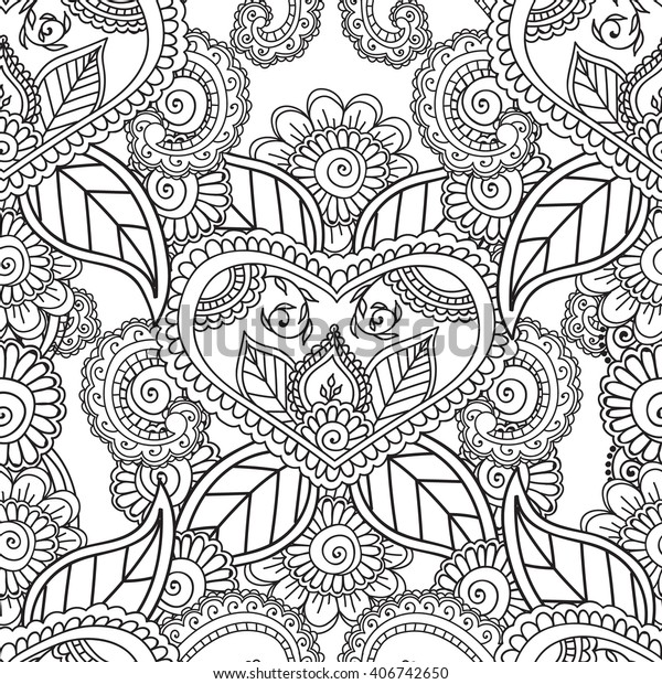 Coloring Pages Adults Seamless Patternhenna Mehndi Stock ...