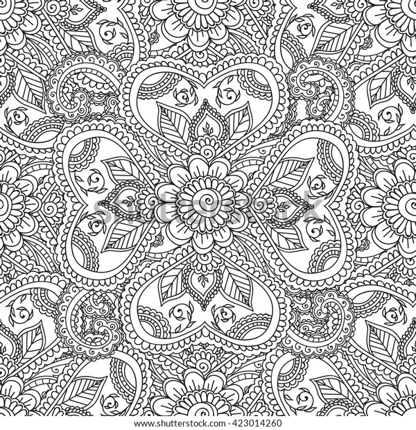 - Coloring Pages Adults Seamless Patternhenna Mehndi Stock Vector (Royalty  Free) 423014260