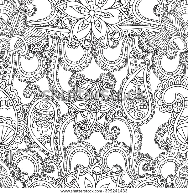 Coloring Pages Adults Seanless Patternhenna Mehndi Stock Vector (Royalty  Free) 395241433