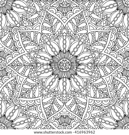 Coloring Pages Adults Coloring Book Decorative Hand Drawn Stock ...