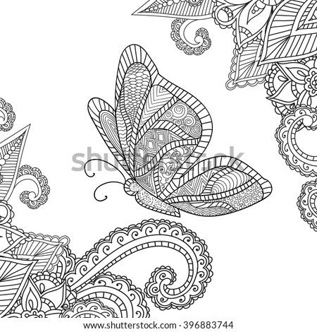 Coloring Pages Adults Doodles Abstract Floral Design Stock Vector