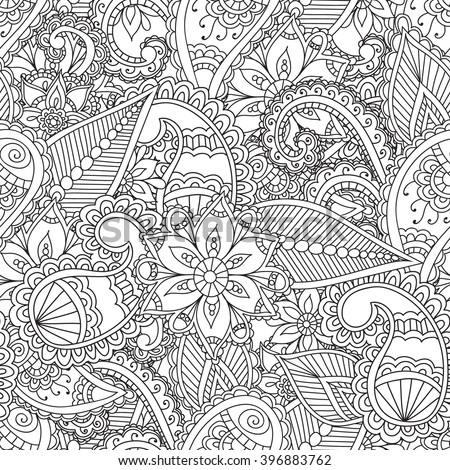Coloring Pages Adults Seamless Pattern Henna Mehendi Doodles Stock