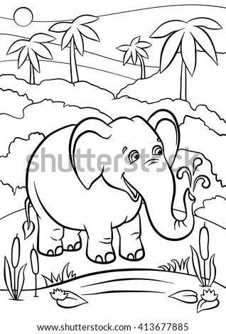 Coloring Pages Animals Cute Elephant Stands Stock Vector Royalty