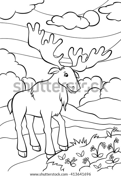Coloring Pages Animals Cute Elk Stands Stock Vector Royalty