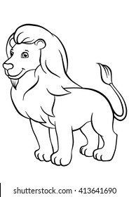 Coloring pages. Animals. Cute lion stands and smiles.