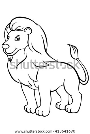 Coloring Pages Animals Cute Lion Stands Stock Vector Royalty Free