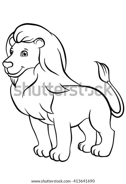 Coloring Pages Animals Cute Lion Stands Stock Vector