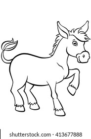 Coloring pages. Animals. Little cute donkey stands and smiles.