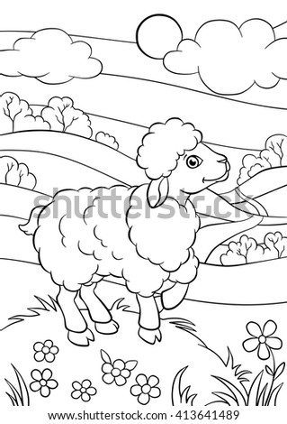 Coloring Pages Animals Little Cute Sheep Stock Vector Royalty Free