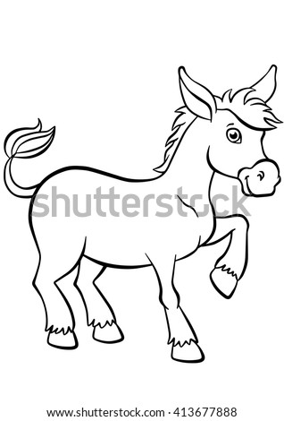 Coloring Pages Animals Little Cute Donkey Stock Vector Royalty Free