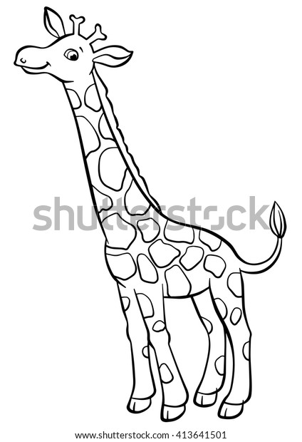 Coloring Pages Animals Little Cute Giraffe Stock Vector