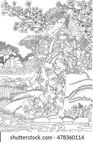 coloring pages beautiful japanese woman 260nw