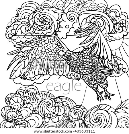 coloring pages birds eagle clouds 450w