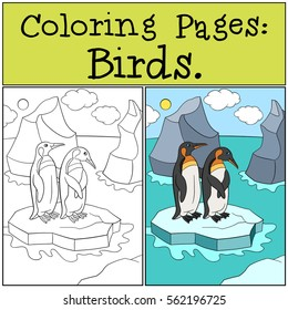 coloring pages birds two little 260nw