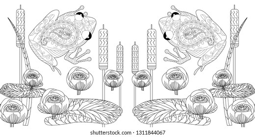 Coloring Pages. Coloring Book for adults and children. Colouring pictures with frog and lotus, lily flowers. Antistress freehand sketch drawing with doodle and zentangle element