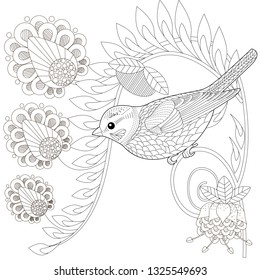 Coloring Pages. Coloring Book for adults and children. Colouring pictures with bird. Antistress freehand sketch drawing with doodle and zentangle element