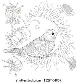 Coloring Pages. Coloring Book for adults and children. Colouring pictures with bird and flowers. Antistress freehand sketch drawing with doodle and zentangle element