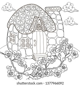 Coloring Pages. Coloring Book for adults and children. Colouring pictures with house and children. Antistress freehand sketch drawing with doodle and zentangle elements.
