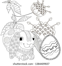 Coloring Pages. Coloring Book for adults and children. Colouring pictures with Easter Bunny. Antistress freehand sketch drawing with doodle and zentangle element