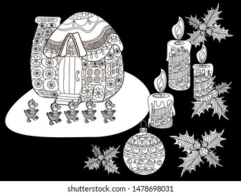 Coloring Pages. Coloring Book for adults and children. Christmas Tree Ornament and hause. Art therapy coloring page.