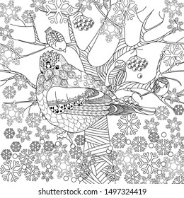 Coloring Pages. Coloring Book for adults and children. Christmas Tree Ornament and birds. Art therapy coloring page.