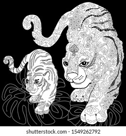 Coloring Pages. Coloring Book for adults and children. Colouring pictures with tiger. Antistress freehand sketch drawing with doodle and zentangle elements.