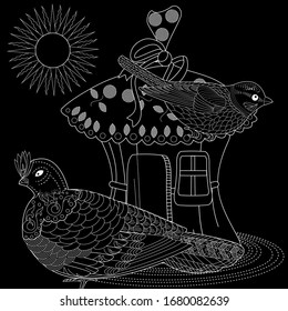 Coloring Pages. Coloring Book for adults and children. Colouring pictures with birds. Antistress freehand sketch drawing with doodle and zentangle elements.