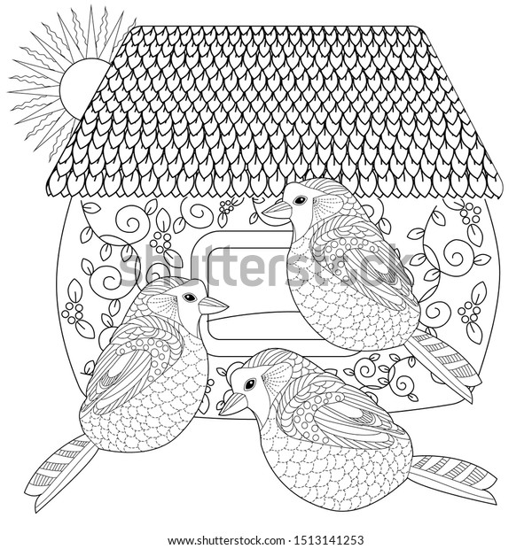 bird houses to color | Birdhouse-Coloring-Pages-017 | Coloring ... | 620x600