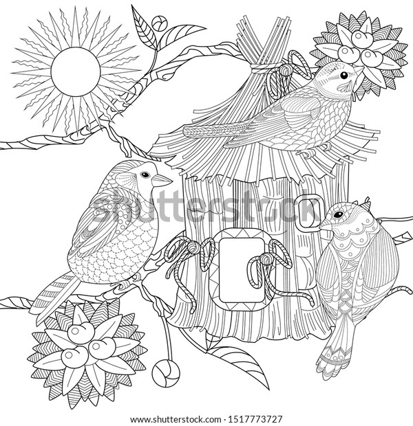 birds house coloring page   House colouring pages, Adult coloring ...   620x600