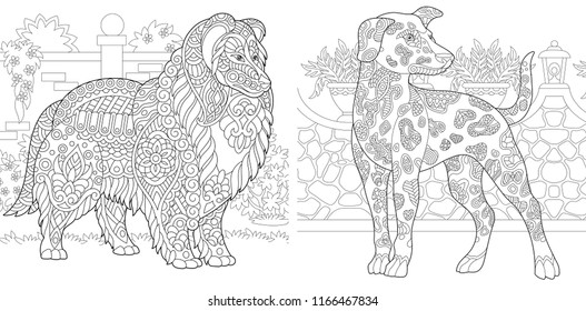 Coloring Pages. Coloring Book for adults. Colouring pictures with Rough Collie and Dalmatian dogs. Antistress freehand sketch drawing with doodle and zentangle elements.