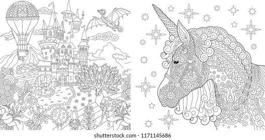 Coloring Pages. Coloring Book for adults. Colouring pictures with fairytale castle and magic unicorn. Antistress freehand sketch drawing with doodle and zentangle elements.