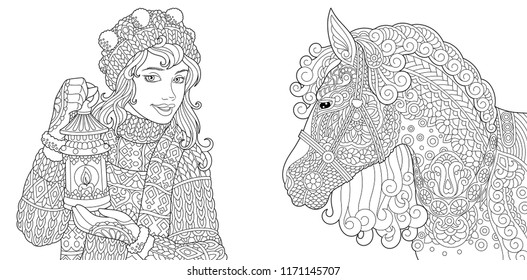 Coloring Pages. Coloring Book for adults. Colouring pictures with winter girl and horse. Antistress freehand sketch drawing with doodle and zentangle elements.