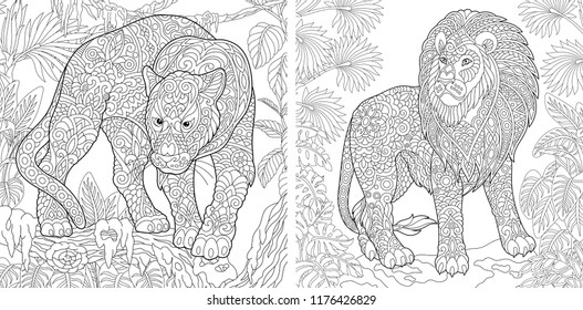 Coloring Pages. Coloring Book for adults. Colouring pictures with panther and lion. Antistress freehand sketch drawing with doodle and zentangle elements.