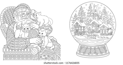 coloring pages coloring book for adults colouring pictures with santa claus and magic snow