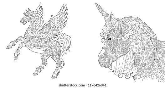 Coloring Pages. Coloring Book for adults. Colouring pictures with unicorn and pegasus horse. Antistress freehand sketch drawing with doodle and zentangle elements.